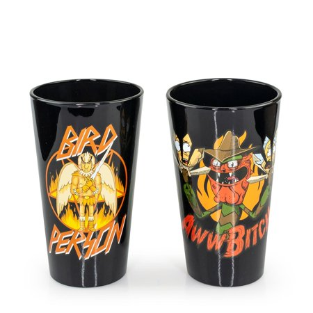 OFFICIAL Rick & Morty Pint Glasses | Feat. Scary Terry & Bird Person | Set of 2