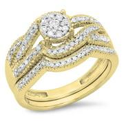 Dazzlingrock Collection 0.50 Carat (ctw) 10K Round Diamond Split Shank Bridal Engagement Ring Set 1/2 CT, Yellow Gold, Size 9
