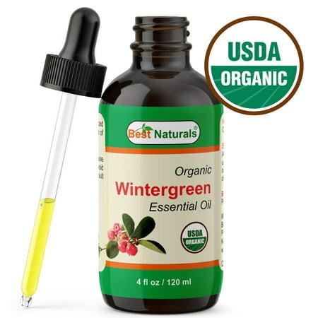 Best Naturals Certified Organic Wintergreen Essential Oil with Glass Dropper 4 FL OZ (120