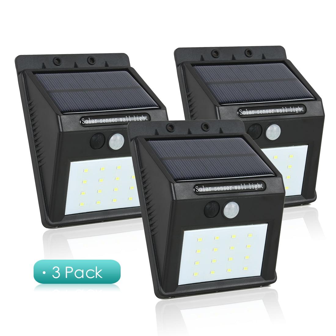 3Pcs LED Solar Light PIR CDS Motion Sensor Lamp 16 LEDs 80lm Waterproof Wireless by