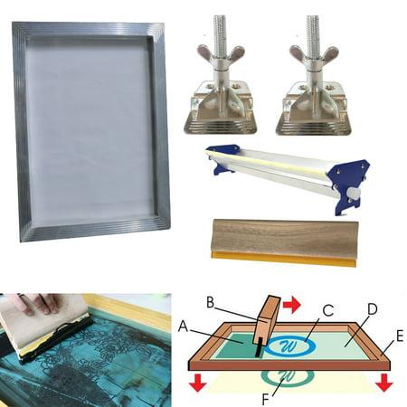 Techtongda Screen Printing Bundle Kit DIY Print Sik Screen Printing Aluminum Frame Hinge Clamp Emulsion Coater Squeegee … (Diy Screen Printing Kit)