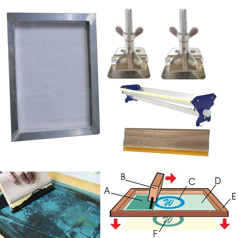 Techtongda Screen Printing Bundle Kit DIY Print Sik Screen Printing Aluminum Frame Hinge Clamp Emulsion Coater Squeegee …
