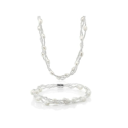 (Twisted White Cultured Freshwater Pearl Necklace & Bracelet With Magnetic Clasp)