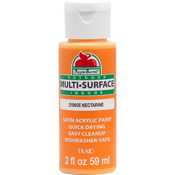 Apple Barrel 2 Fl Oz Multi Surface Nectarine Orange Satin Acrylic Paint Walmart Com Walmart Com
