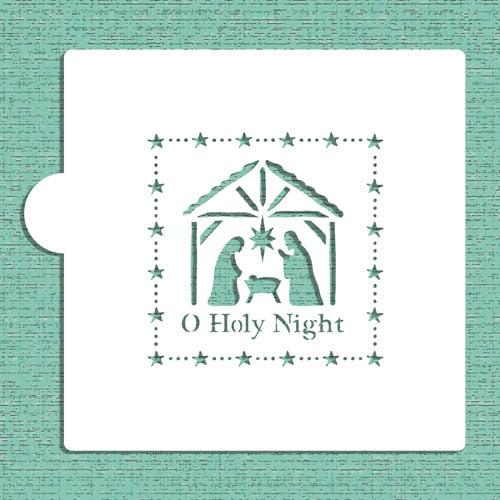 Designer Stencils O Holy Night Nativity Scene Cookie and Craft Stencil CM034