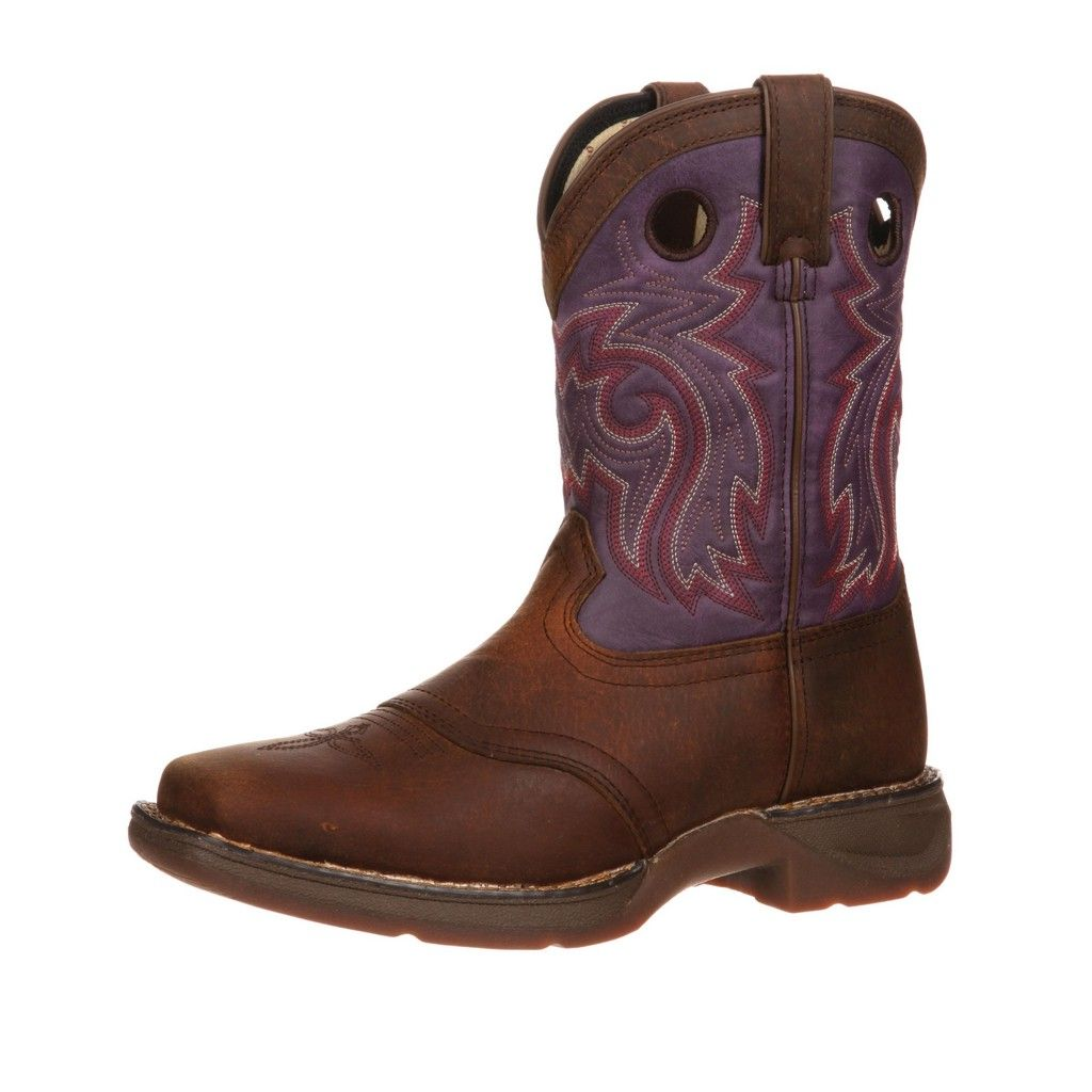 Durango Western Boots Girls Saddle Stitch Cowboy Heel Brown DWBT043 by Durango