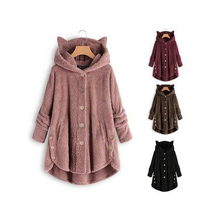 Women Casual Plush Asymmetrical Design Hooded Cute Coat - image 5 of 7