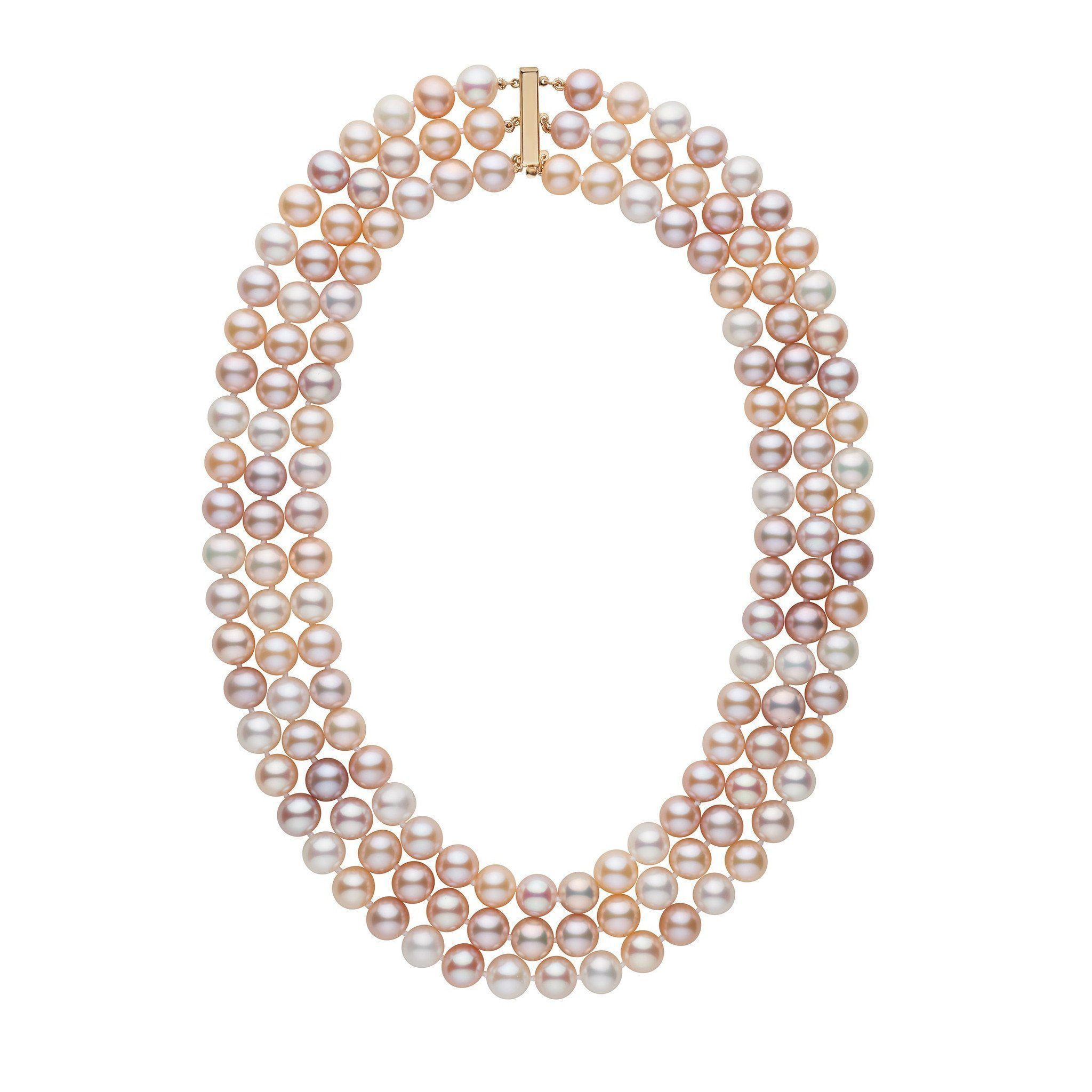 Triple Strand 8.5-9.0 mm AAA Multicolor Freshwater Cultured Pearl Necklace