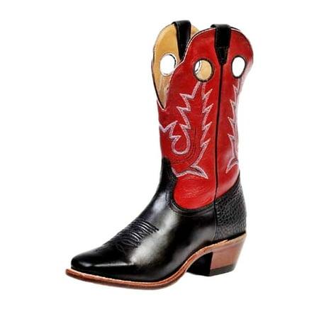 Boulet Western Boots Mens Cowboy Vintage Torino Black Calf Red 8169