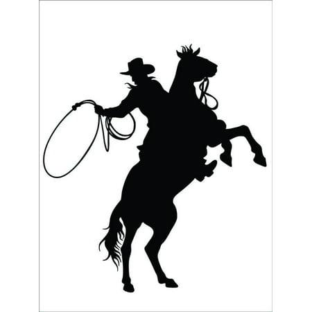 "Custom Wall Decal : Cowboy & Horse Galloping Racing Animal Herder Horseback Ranch Wall Sticker : 20 X20"" -"