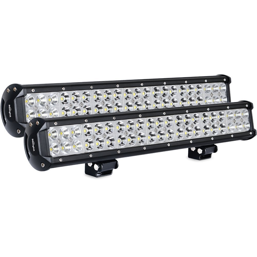 Nilight Light Bar 2PCS 20 Inch 126W LED Lights Spot Flood Combo Led Off Road Driving Lights Led Fog Lights Jeep Lights Boat Lighting LED Work Light ,2 Years Warranty