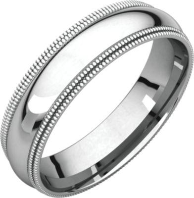 Roy Rose Jewelry 10K White Gold 5mm Double Milgrain Comfort Fit Wedding Band Ring Size 9.5