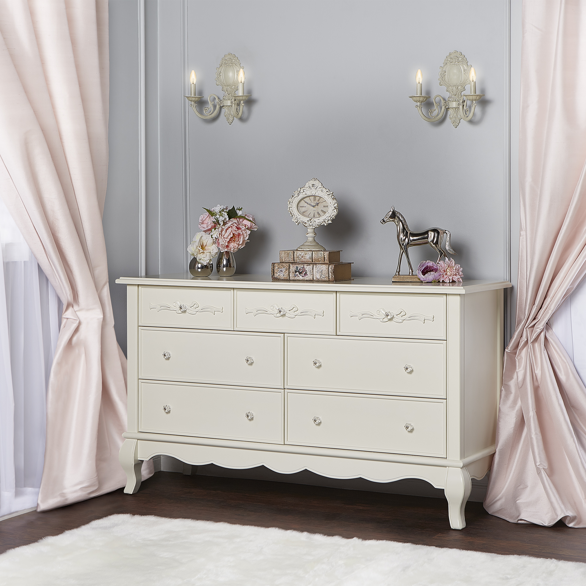 Evolur Aurora 7-Drawer Double Dresser, Ivory Lace