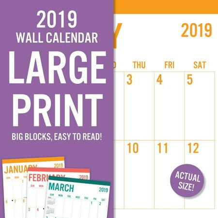 - 2019 Large Print Wall Calendar, Big Grid by Leap Year Publishing LLC