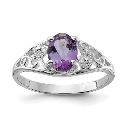 - 925 Sterling Silver Purple Amethyst Band Ring Size 7.00 Stone Gemstone Fine Jewelry For Women Gift Set