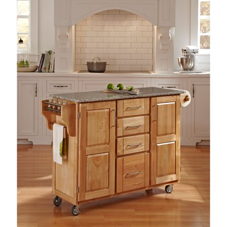Home Styles Large Kitchen Cart Natural With Salt Pepper Granite Top