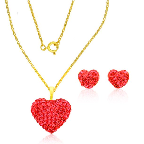 10K YG Swarovski Crystal Elements Heart Pendant Necklace and Stud Earrings  Set