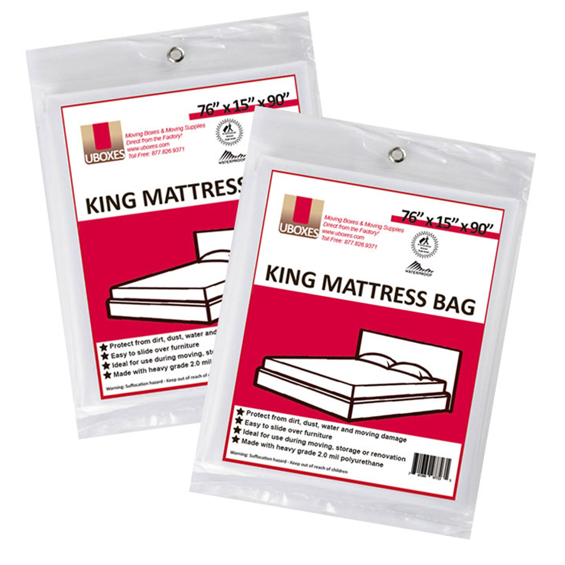Uboxes King Mattress Poly Covers 76 X 15 X 90 In 2 Pack