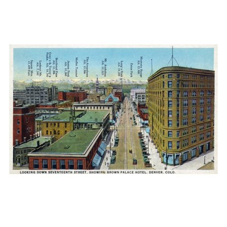 Denver, Colorado - View Down 17th Street Showing Brown Palace Hotel Print Wall Art By Lantern Press