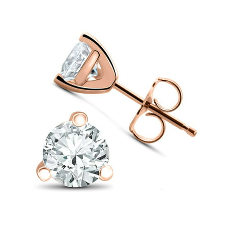 1/3 ct TDW Lab Grown Diamond Martni Studs 14k White, Yellow, Rose Gold or Plat ()