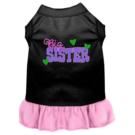 Big Sister Screen Print Dog Dress Black with Light Pink XXXL Big Dot Dress