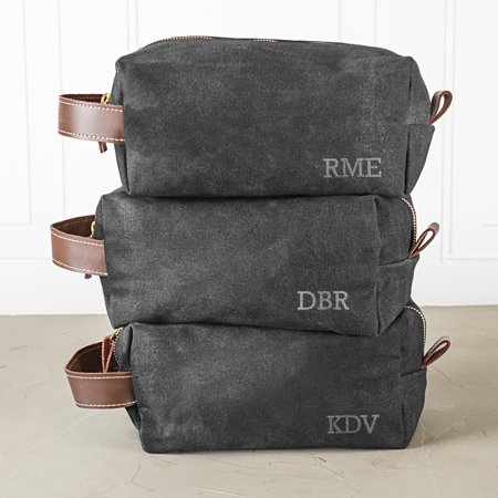 Personalized Men's Waxed Canvas and Leather Dopp Kit,
