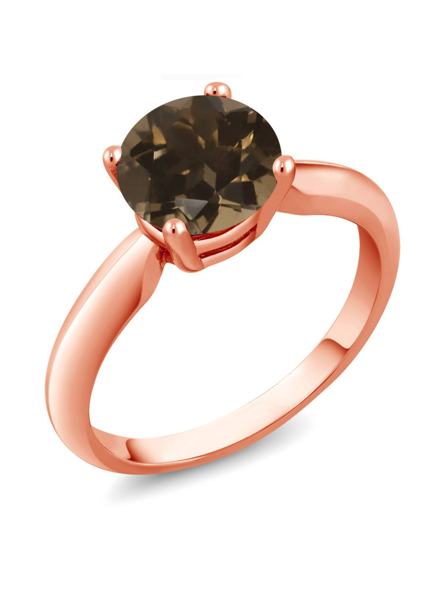 1.70 Ct Round Brown Smoky Quartz 925 Rose Gold Plated Silver Ring
