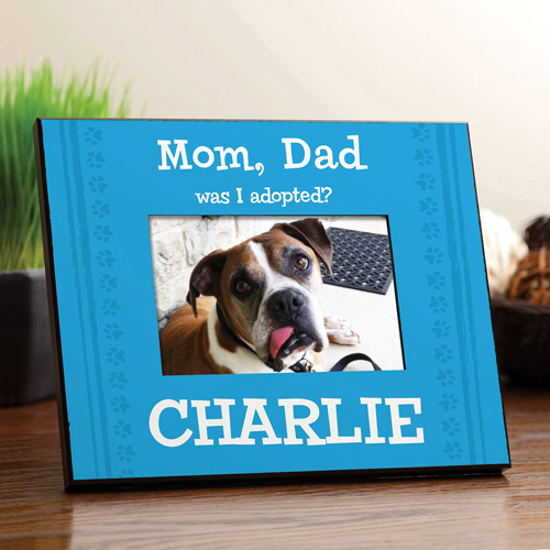Personalized Was I Adopted? Blue Dog Frame