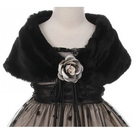 Little Girls Soft Furry Elegant Fur Shawl Shoulder Wrap Flower Special Occasion Black 2 (K23D2) ()