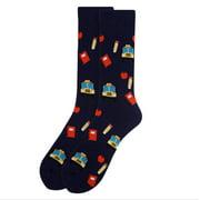 Men's Fun Novelty Print Dress Socks - School Teacher Bllue