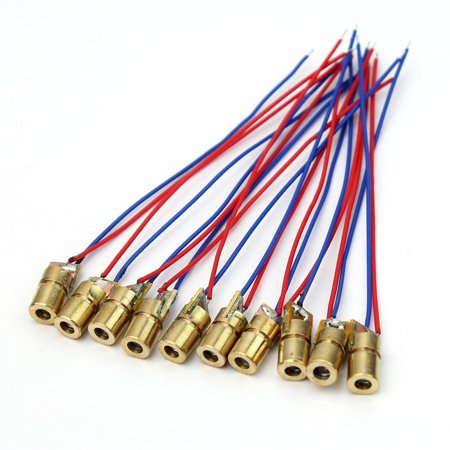 10pcs 5 Volt 5mW 650nm Red Dot Laser Diode Module Heads