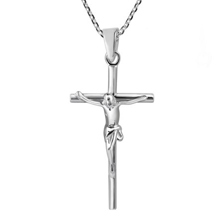 Faithful Devotion Crucifix Cross Sterling Silver Necklace (Crucifix Necklace)