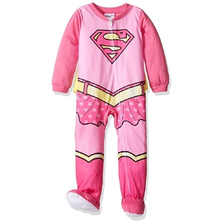 DC Comics Baby Girls' Supergirl Footed Sleeper with -