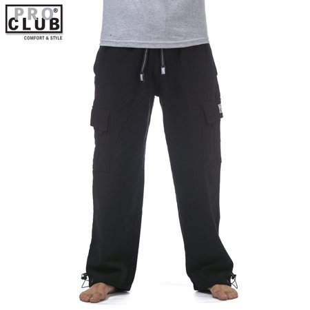 Pro Club Men's Heavyweight Fleece Cargo Sweatpants Black 3X-Large