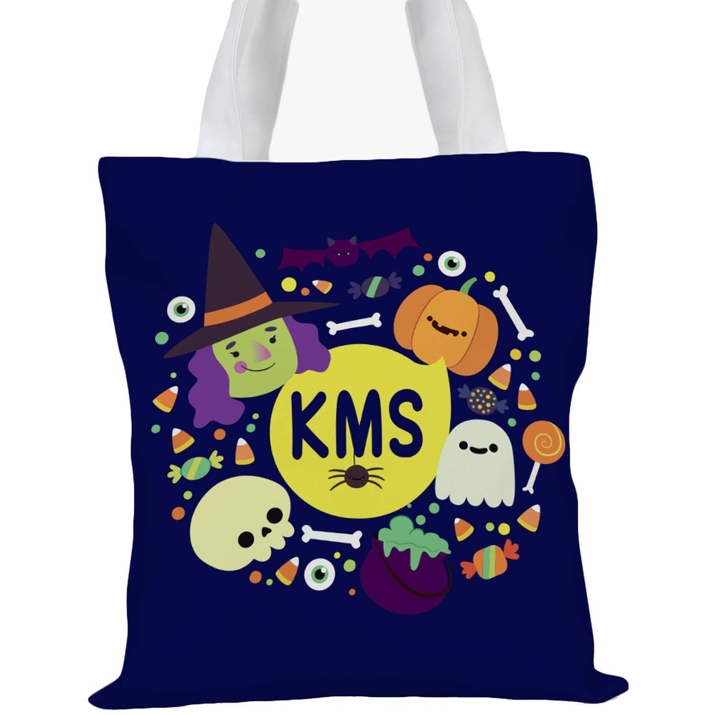 "Custom Kids Spooky Halloween Monogram Tote Bag, Sizes 11"" x 11.75"" and 15"" x 16.25"""