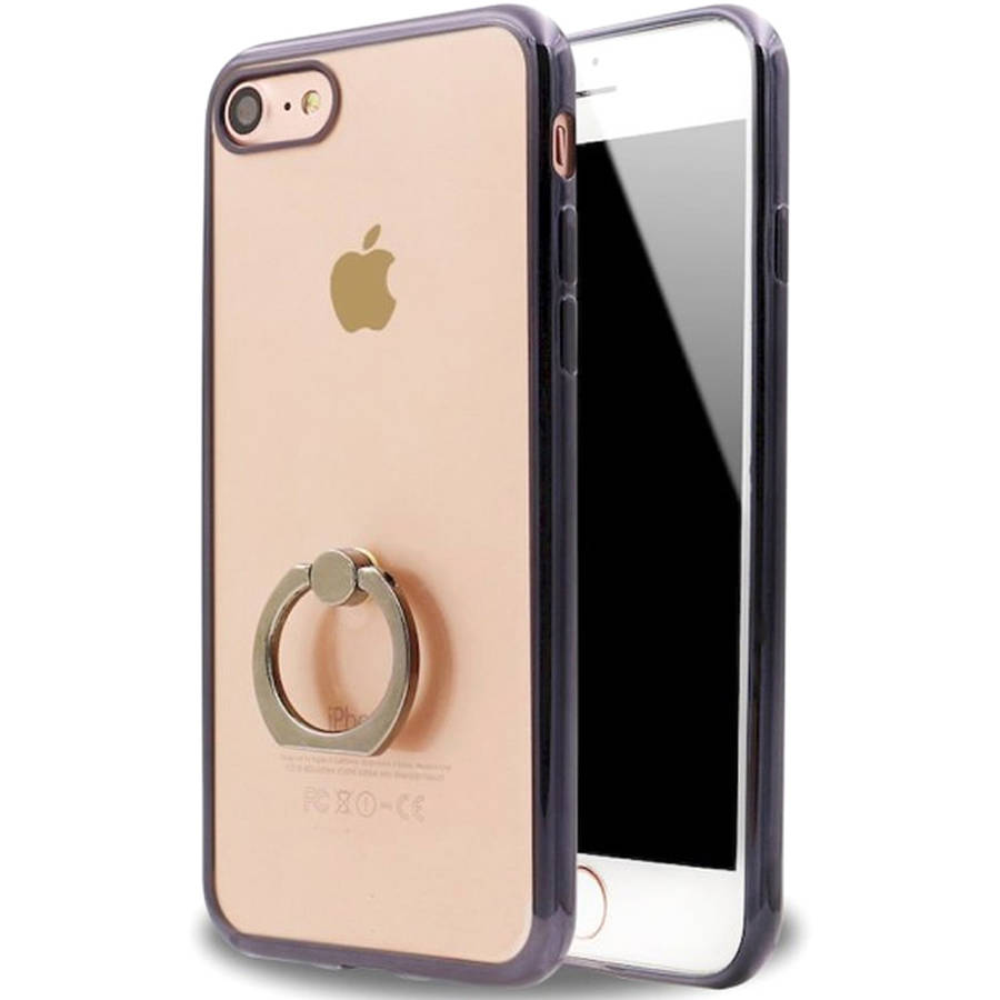 KIKO Wireless Clear Electroplate with Ring Holder, Kick Stand Slim Case for Apple iPhone 7 Plus