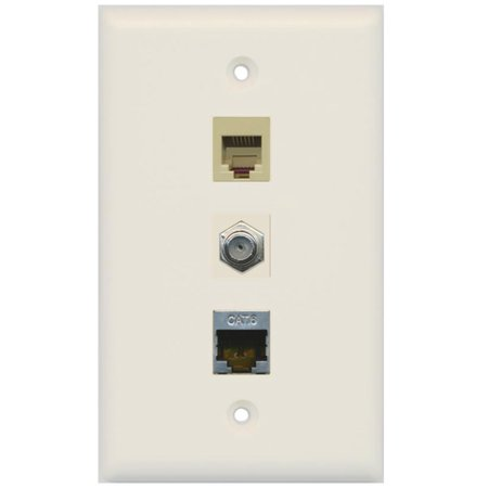 - RiteAV - 1 Port Coax Cable TV- F-Type Phone RJ11 RJ12 and Shielded Cat6 Ethernet Wall Plate - Light Almond