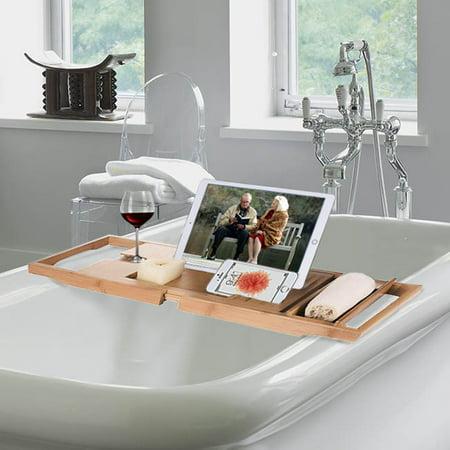 Luxury Bamboo Bathtub Caddy, Organizer, w/ BookTablet holder, wine ...