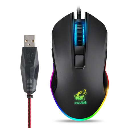 TSV Gaming Mouse Wired RGB Lighting, High Precision 3200 DPI Optical Sensor, Game Mice Design for Average Size Hand, PC Gaming Mouse with Long Braided Cord, Ideal for Pro