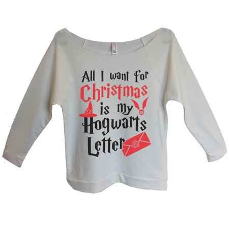 "d08a49bf029 Funny Threadz - Womens Christmas 3 4 Sleeve ""All I Want For Christmas Is My Hogwarts  Letter"" Harry Potter Sweater X-Large"