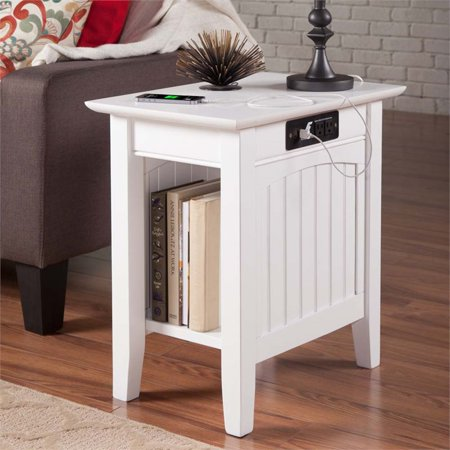 Pemberly Row Charger Chair Side Table in White - image 4 de 5
