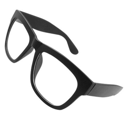 Man Woman Rubberized Plastic Broad Arms Black Plain Glasses Spectacles
