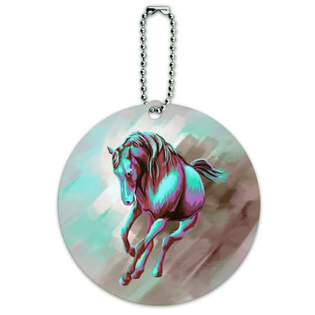 Graphics and More Horse Running Painting Aqua Pink Round ID Card Luggage Tag