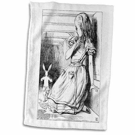 3dRose Follow the white rabbit. Alice in Wonderland John Tenniel illustration - Towel, 15 by