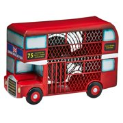 DecoFLAIR Table Fan Single-Speed Electric Circulating Fan, Red Double Decker Bus Figurine Fan