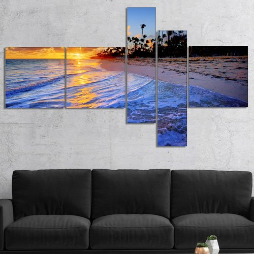 East Urban Home 'Blue Waves Along the Shore' Photographic Print Multi-Piece Image on Canvas
