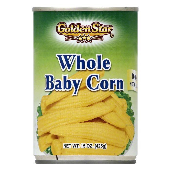 Golden Star Whole Baby Corn, 15 OZ (Pack of 12)