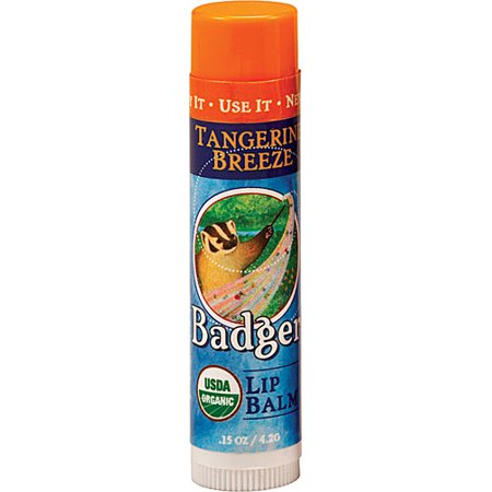 Badger Organic Lip Balm Tangerine Breeze -- 0.15 oz (pack of 4)