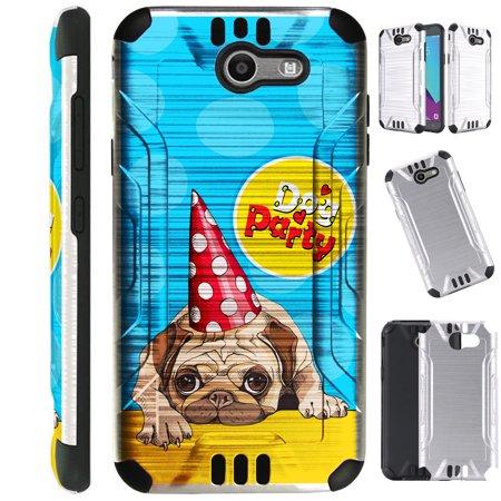 Party Galaxy Okc (Silver Guard Phone Case Cover For Samsung Galaxy J3 (2017) | J3 Emerge | Sol 2 | J3 Luna Pro (Dog)