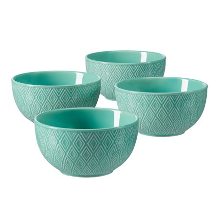 Mainstays Geometric Revival Embossed 4 Bowl Set, Green ()